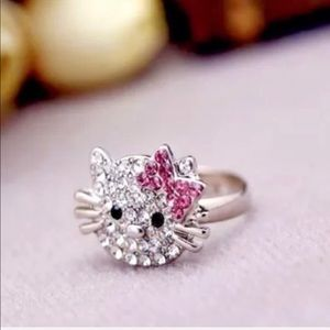 Hello Kitty Rhinestone Stud Earrings & Ring Set